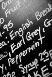 Hand written chalk menu board featured the word Earl Grey promin Stock Images