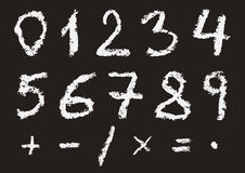 Hand written chalk numbers Royalty Free Stock Image