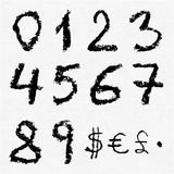 Hand written  charcoal numbers Stock Photos