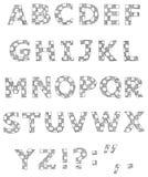 Hand written checkered alphabet. Set Royalty Free Stock Photo