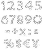 Hand written checkered numbers Royalty Free Stock Image