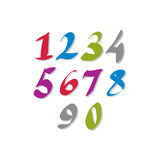 Hand written colorful vector numbers, stylish Royalty Free Stock Photo