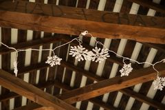 Hand Written Couple Names on Wood Beams with Fairy Lights royalty free stock image