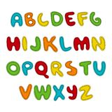 Hand written display colored font, Kid style. ABC. Stitched, patched, sewed, Decorative funny Vector alphabet and. Numbers. Hand drawn text. For quotes Royalty Free Stock Images