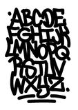 Hand written graffiti font alphabet. Royalty Free Stock Photos