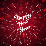 Hand-written Happy New Year with beam over red background. Happy New Year lettering with beam on the red shining background with snowflakes. Element for your Vector Illustration