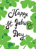 The hand written inscription Happy St. Patrick's Day Stock Image