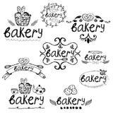 Hand written label for bakery theme. Vector illustration Stock Photo