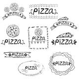 hand written label for pizza theme. Vector illustration Royalty Free Stock Photo