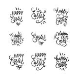 Hand written lettering Easter phrases or quotes set. Greeting card text templates with eggs, curls, swirls  on Stock Photography