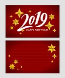 2019 hand written lettering with golden Christmas stars on a black background. Happy New Year card design. Vector illustration EPS. 2019 hand written lettering vector illustration