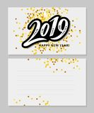 2019 hand written lettering with golden Christmas stars on a black background. Happy New Year card design. Vector illustration EPS. 2019 hand written lettering stock illustration