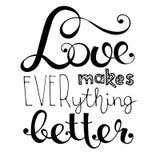 Hand written lettering love makes everithing better stock illustration