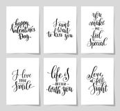 6 hand written lettering positive quote about love Royalty Free Stock Photography