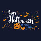 Hand written lettering with text Happy Halloween trick or treat. Stock Image