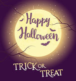 Hand written lettering with text Happy Halloween trick or treat. Royalty Free Stock Photos