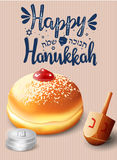 Hand written lettering with text `Happy Hanukkah`. Stock Image