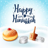 Hand written lettering with text `Happy Hanukkah`. Stock Images