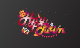 Hand written lettering with text Happy Purim.Vector illustration vector illustration