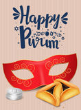 Hand written lettering with text `Happy Purim`. Stock Photos