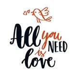 Hand written love quote calligraphy Stock Photos