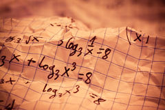Hand written mathematical formulas Stock Images