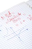 Hand written maths calculations stock images