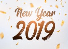 2019 hand written new year. Lettering golden Christmas stars and balls design background. New 2019 year number decoration.  vector illustration