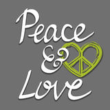 Hand written peace and love words with heart peace symbol, lettering typography poster Royalty Free Stock Image