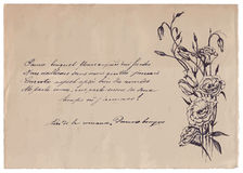 Hand-written poem on old paper background with drawing. Hand-written text on old paper background with drawing Royalty Free Stock Images