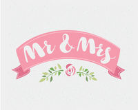 Hand-written with pointed pen and ink and then autotraced traditional wedding words `Mr. and Mrs.` Stock Images