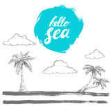 Hand written prase hello sea on rough edge blue circle. Hand drawn sketch style palms and clouds on stylised island. Brush painted Stock Photo