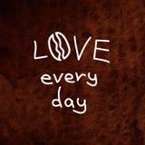 Hand written quote. Vector clip art. I love coffee Stock Photo