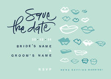 Hand-written Save the Date with kisses stock photography