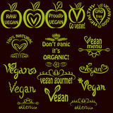 Hand written set of vegan logos, vegan text labels Stock Photography