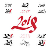 2018 handwritten sign set on white background. Hand written sign set of 2018 signs on white background Stock Image