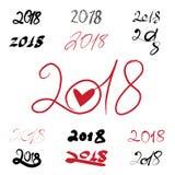 2018 handwritten sign set on white background. Hand written sign set of 2018 on white background Stock Photography