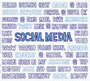 Hand Written Social Media Words, Tags, and Labels on Squared Paper. Set of hand written social media theme words, tags, labels, titles and headlines. Optimized Royalty Free Stock Photography