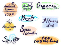 Hand written spa center signs isolated on white, VECTOR Royalty Free Stock Photo
