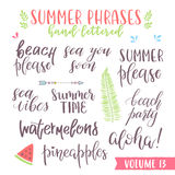 Hand written summer lettering phrases Stock Photos