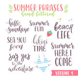 Hand written summer lettering phrases Royalty Free Stock Photos