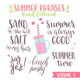 Hand written summer lettering phrases Royalty Free Stock Image