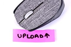 Hand written upload with a computer mouse stock photos