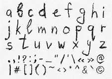 Hand written vector charcoal lowercase english alphabet Stock Images