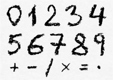 Hand written vector charcoal numbers Royalty Free Stock Images