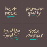 Hand written Vector Food Labels - Price Premium He stock photography