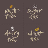 Hand written Vector Food Labels Set - Nut Sugar Da Stock Photography