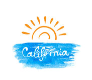 Hand-written word CALIFORNIA, lettering Stock Images