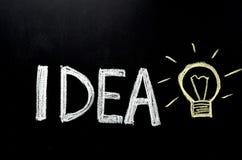 Hand written word `idea` on chalkboard stock photos