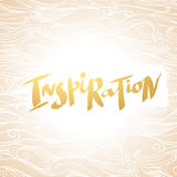 Hand written word Inspiration on background with wavy pattern. Vector illustration for your design Royalty Free Stock Photography